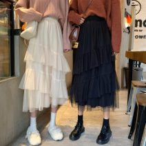 skirt Spring 2021 Average size Gray, off white, black Mid length dress Versatile High waist Irregular Solid color Type A 18-24 years old 30% and below other polyester fiber