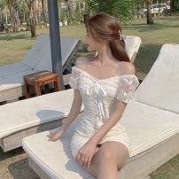 Dress Summer 2021 Apricot S,M,L Short skirt singleton  Short sleeve commute One word collar zipper A-line skirt puff sleeve Type A Korean version Lace