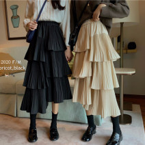 skirt Summer 2021 Average size Apricot, black Mid length dress commute High waist Cake skirt Solid color Type A 18-24 years old Retro