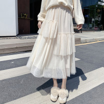 skirt Spring 2021 Average size White, apricot, black, green Mid length dress commute High waist Irregular Solid color Type A 18-24 years old other other Asymmetric, irregular mesh Korean version