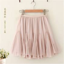 skirt Spring 2020 Average size 9017 white, 9017 apricot, 9017 gray, 9017 black, 9017 pink, 9017 coffee Short skirt Versatile High waist Fluffy skirt Solid color Type A 18-24 years old 30% and below Other / other Gauze