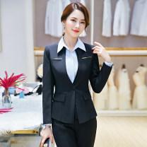 Professional dress suit S M L XL XXL 3XL 4XL Winter of 2018 Long sleeves loose coat Suit skirt Sophie Polyester 95% polyurethane elastic fiber (spandex) 5% Pure e-commerce (online only)