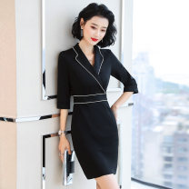 Professional dress suit S M L XL XXL 3XL 4XL Black medium sleeve black short sleeve Autumn of 2019 three quarter sleeve AMZ562 Other styles A-line skirt 18-25 years old Sophie Polyester 95% polyurethane elastic fiber (spandex) 5% Pure e-commerce (online only)