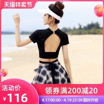 Split swimsuit Esowell / isawell black M L XL XXL boxer With chest pad without steel support Spandex polyester ESOWELLY136 Summer 2021 female Crew neck Short sleeve