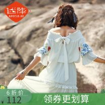 Dress Summer of 2018 white S XL L M longuette singleton  elbow sleeve Sweet One word collar middle-waisted Solid color Socket Cake skirt puff sleeve Others 18-24 years old Type A Aporia.as/maze Auricularia auricula with bow and tuck 81% (inclusive) - 90% (inclusive) other polyester fiber Lolita
