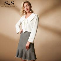 skirt Spring of 2019 S M L Medium grey Middle-skirt High waist SOPHIE&STEPHIE
