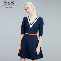 Dress Autumn 2015 Navy (quarter sleeve) Navy (short sleeve) Navy (medium sleeve) L S M XL XXL Short skirt singleton  elbow sleeve street V-neck High waist Solid color Socket A-line skirt routine Others 25-29 years old Type A SOPHIE&STEPHIE Splicing SS415-11001 91% (inclusive) - 95% (inclusive) cotton