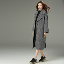 Women's large Winter 2017 grey woolen coat singleton  commute easy thick Cardigan Long sleeves Solid color Korean version square neck Medium length Polyester sheepskin other Qiweier 30-34 years old Polyester 75% wool 25% Pure e-commerce (online only)