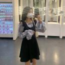 Dress Spring 2021 Black strap skirt, grey blue top, pink top S, M Short skirt singleton  Sleeveless commute High waist Solid color A-line skirt straps 18-24 years old Type A Korean version More than 95% polyester fiber
