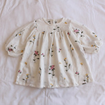 Dress white female Other / other 73cm,80cm,90cm,100cm,110cm,120cm Cotton 100% spring and autumn Korean version Long sleeves Broken flowers cotton Splicing style C72 12 months, 6 months, 9 months, 18 months, 2 years old, 3 years old, 4 years old, 5 years old