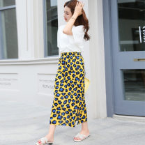Women's large Summer 2021 Average size skirt singleton  commute Straight cylinder thin Socket Leopard Print Retro other fold 30-34 years old pocket 96% and above Medium length Pleated skirt Ninth pants