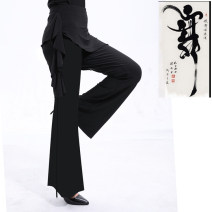 Square dance pants black M,L,XL trousers middle-waisted other bell-bottoms female show Solid color yes 30-39 years old