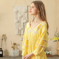 Dress Spring 2020 Lemon yellow S M L Mid length dress singleton  Long sleeves commute V-neck High waist Solid color Socket A-line skirt bishop sleeve Others 25-29 years old Type A Marie Eve / Mary Eve Button 51% (inclusive) - 70% (inclusive) other cotton Pure e-commerce (online only)