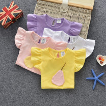 T-shirt White, light yellow, violet, pink Other / other 80cm,90cm,100cm,110cm,120cm,130cm female summer Short sleeve Crew neck No model cotton Cotton 95% other 5%