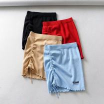 skirt Summer of 2019 S, M Black, blue, Burgundy, apricot Short skirt street High waist High waist skirt Solid color Type O 18-24 years old 71% (inclusive) - 80% (inclusive) other cotton Europe and America
