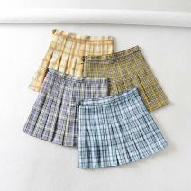 skirt Summer 2020 S,M,L Short skirt fresh High waist Pleated skirt lattice Type A 18-24 years old 71% (inclusive) - 80% (inclusive) other polyester fiber