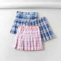 skirt Summer 2020 XS,S,M,L Pink blue grid, blue white grid, dream blue grid Short skirt Versatile High waist Pleated skirt lattice Type A 18-24 years old Everyday Q04 71% (inclusive) - 80% (inclusive) other polyester fiber Color block pattern