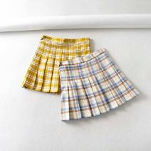 skirt Summer 2020 XS,S,M,L Short skirt Versatile High waist Pleated skirt lattice Type A 18-24 years old WT801 71% (inclusive) - 80% (inclusive) other other Color matching grid