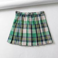 skirt Summer of 2019 XS,S,M,L green Short skirt street High waist A-line skirt lattice Type A 18-24 years old T896 pleated skirt 81% (inclusive) - 90% (inclusive) other other printing Europe and America