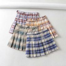 skirt Summer 2020 XS,S,M,L Card blue grid, card green grid, card yellow grid, red blue grid Short skirt Versatile High waist Pleated skirt lattice Type A 18-24 years old Everyday Q16 71% (inclusive) - 80% (inclusive) other other Color matching grid