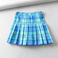 skirt Summer of 2019 XS,S,M,L Blue lattice Short skirt Versatile High waist Pleated skirt lattice Type A 18-24 years old 71% (inclusive) - 80% (inclusive) other polyester fiber