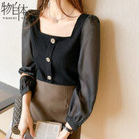 Lace / Chiffon Spring 2021 black S M L XL 2XL Long sleeves commute Socket singleton  easy Regular square neck Solid color routine 25-29 years old Thing in itself 2020CZ1889 Three dimensional decorative button with stitching thread Korean version Other 100%