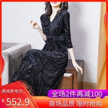 Dress Spring 2021 black M L XL XXL Mid length dress singleton  Long sleeves commute V-neck Decor zipper A-line skirt routine Others 35-39 years old Wusheng literature Nail bead 20M509 More than 95% other other Other 100%