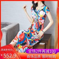 Dress Summer 2021 Decor M L XL XXL XXXL Mid length dress singleton  Short sleeve commute V-neck High waist Decor Socket A-line skirt routine Others 35-39 years old Type A Wusheng literature 21M093 More than 95% other other Other 100%