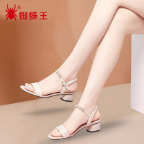 Sandals 34 35 36 37 38 39 40 Black Beige PU Spider king Barefoot Thick heel Low heel (1-3cm) Summer 2021 Flat buckle Simplicity Solid color Adhesive shoes Youth (18-40 years old) rubber daily Ankle strap Low Gang Lateral space PU Two layer pigskin Fashion sandals Napa pattern