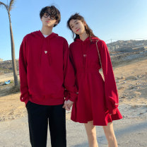 Sweater / sweater Spring 2020 Women's dress, men's sweater, men's black pants S,M,L,XL,2XL,3XL Long sleeves Medium length Socket singleton  Plush Hood easy commute routine Solid color 18-24 years old 91% (inclusive) - 95% (inclusive) lady cotton Splicing Cotton liner