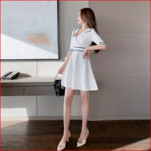 Dress Winter 2016 Black, white L,M,XL,S Short skirt singleton  elbow sleeve commute V-neck Solid color Socket A-line skirt other Others 25-29 years old Type A Ol style 81% (inclusive) - 90% (inclusive) brocade