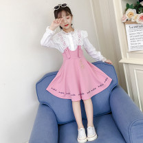 Dress Pink Black female Cabalandi Other 100% spring and autumn princess Long sleeves other other A-line skirt Autumn 2020 2 years old, 3 years old, 4 years old, 5 years old, 6 years old, 7 years old, 8 years old, 9 years old, 10 years old, 12 years old, 13 years old, 14 years old
