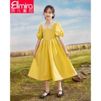 Dress yellow female Ellmira / Elmira 130cm 140cm 150cm 160cm 170cm Cotton 98% other 2% summer princess Short sleeve Solid color cotton A-line skirt Class B Summer 2021 8 years old, 9 years old, 10 years old, 11 years old, 12 years old, 13 years old, 14 years old