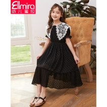 Dress female Ellmira / Elmira 130cm 140cm 150cm 160cm 170cm Polyester 100% summer lady Short sleeve Solid color other Lotus leaf edge Class B Summer 2021 8 years old, 9 years old, 10 years old, 11 years old, 12 years old, 13 years old, 14 years old