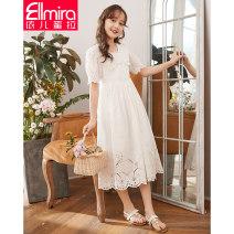 Dress female Ellmira / Elmira 130cm 140cm 150cm 160cm 170cm Cotton 98% other 2% summer lady Short sleeve Solid color cotton Princess Dress Class B Summer 2021 8 years old, 9 years old, 10 years old, 11 years old, 12 years old, 13 years old, 14 years old
