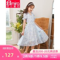 Dress Blue (about 7 days after payment) female Ellmira / Elmira 130cm 140cm 150cm 160cm 170cm Polyester 100% summer lady Short sleeve Broken flowers other Lotus leaf edge Class B Summer 2021 8 years old, 9 years old, 10 years old, 11 years old, 12 years old, 13 years old, 14 years old