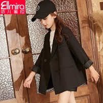 Suit / Blazer black 130cm 140cm 150cm 160cm 170cm Ellmira / Elmira female There are models in the real shooting Korean version spring and autumn Solid color double-breasted routine other Class C Polyester fiber 91.1% polyurethane elastic fiber (spandex) 8.9% Winter of 2019