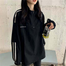 Sweater / sweater Spring 2021 black M L XL 2XL Long sleeves Medium length Socket singleton  Thin money stand collar easy commute routine stripe 18-24 years old 96% and above dhini Korean version other H815 Cotton liner Other 100% Pure e-commerce (online only)