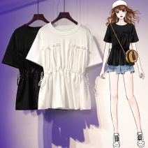 Women's large Summer 2021 White black Large XL Large XXL large XXXL large T-shirt singleton  commute easy moderate Socket Short sleeve Solid color Korean version Crew neck routine cotton Three dimensional cutting routine dhini 18-24 years old Other 100% Pure e-commerce (online only) bow