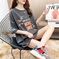 Women's large Summer 2021 Dark gray white yellow L XL M 2XL commute easy Short sleeve letter Korean version Crew neck Medium length other routine dhini 18-24 years old 96% and above Other 100% Pure e-commerce (online only)