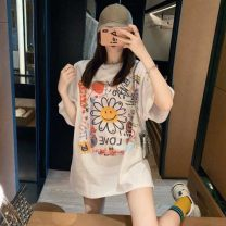T-shirt white S M L XL 2XL Summer 2021 Short sleeve Crew neck easy Regular routine commute other 96% and above 18-24 years old Korean version originality Cartoon animation dhini printing Other 100% Pure e-commerce (online only)