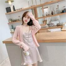 Wool knitwear Summer 2020 S M L XL White cinnamon, gray blue, apricot Long sleeves singleton  Cardigan other More than 95% have cash less than that is registered in the accounts Thin money commute easy V-neck routine Solid color Single breasted Korean version 0340Q 18-24 years old dhini Button