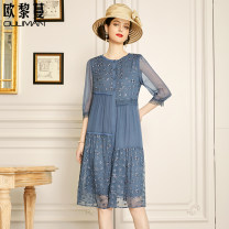 Dress Summer 2021 blue 160/84A/S 165/88A/M 170/92A/L 175/96A/XL 180/100A/2XL Mid length dress singleton  elbow sleeve commute Crew neck Loose waist Solid color Socket A-line skirt routine Others 30-34 years old Type A Euriman Ol style Splicing LYQ2485 More than 95% silk Mulberry silk 100%