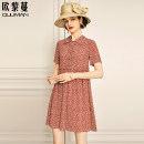 Dress Summer 2021 Delivery within 15 days after payment 160/84A/S 165/88A/M 170/92A/L 175/96A/XL 180/100A/2XL Mid length dress singleton  Short sleeve commute Polo collar Loose waist Decor Socket A-line skirt routine Others 30-34 years old Type A Euriman Ol style printing LYQ2492 More than 95% silk