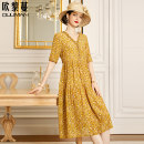 Dress Summer 2021 Floret yellow floret rice floret red floret 160/84A/S 165/88A/M 170/92A/L 175/96A/XL Mid length dress singleton  elbow sleeve commute V-neck middle-waisted Decor Socket A-line skirt routine Others 30-34 years old Type A Euriman Ol style printing LYQ2505 More than 95% silk