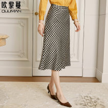 skirt Spring 2020 S M L XL Black thousand bird grid Mid length dress commute Natural waist houndstooth  Type A 30-34 years old BQO077 81% (inclusive) - 90% (inclusive) Euriman silk Ol style Mulberry silk 90% polyurethane elastic fiber (spandex) 10% Pure e-commerce (online only)