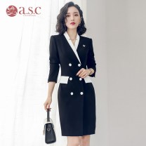 Dress Spring of 2019 Black dress S,M,L,XL,3XL,XXL singleton  Long sleeves commute tailored collar middle-waisted Solid color double-breasted A-line skirt other Others 30-34 years old AI Shangchen Ol style Button Q253 polyester fiber