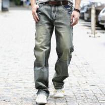 Jeans Youth fashion FeNO 28 29 30 31 32 33 34 35 36 38 40 42 44 46 48 routine Micro bomb Cotton elastic denim trousers Cotton 68% polyester 27% viscose (viscose) 3% polyurethane elastic (spandex) 2% Four seasons youth Medium high waist Loose straight tube American leisure 2021 Straight foot zipper
