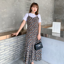 Women's large Summer 2021 T-shirt / Collection Plus purchase priority delivery, suspender skirt / Collection Plus purchase priority delivery, T-shirt + suspender skirt set Large L, large XL, 2XL, 3XL, 4XL Dress Two piece set commute Self cultivation thin Socket Short sleeve Korean version Crew neck