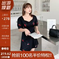 Women's large Summer 2021 Black / Collection Plus Priority Shipping Large XL, 2XL, 3XL, 4XL Dress singleton  commute Self cultivation thin Conjoined Korean version square neck Three dimensional cutting L02ML19769 Mu Ling 25-29 years old zipper Medium length Lantern skirt